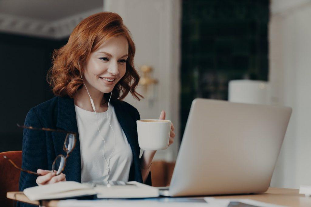 woman having an online business meeting.